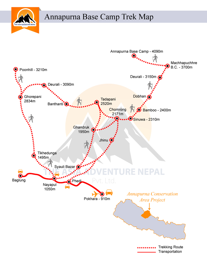 Annapurna Base Camp Trekking Trip Map