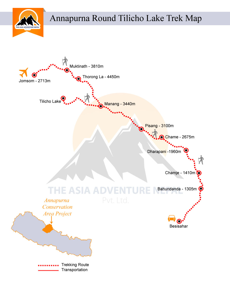Annapurna Tilicho Lake Trekking  Trip Map