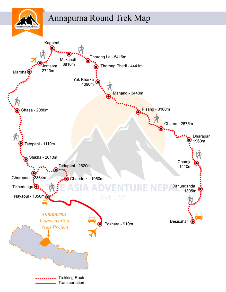 Annapurna Circuit TrekkingTrip Map