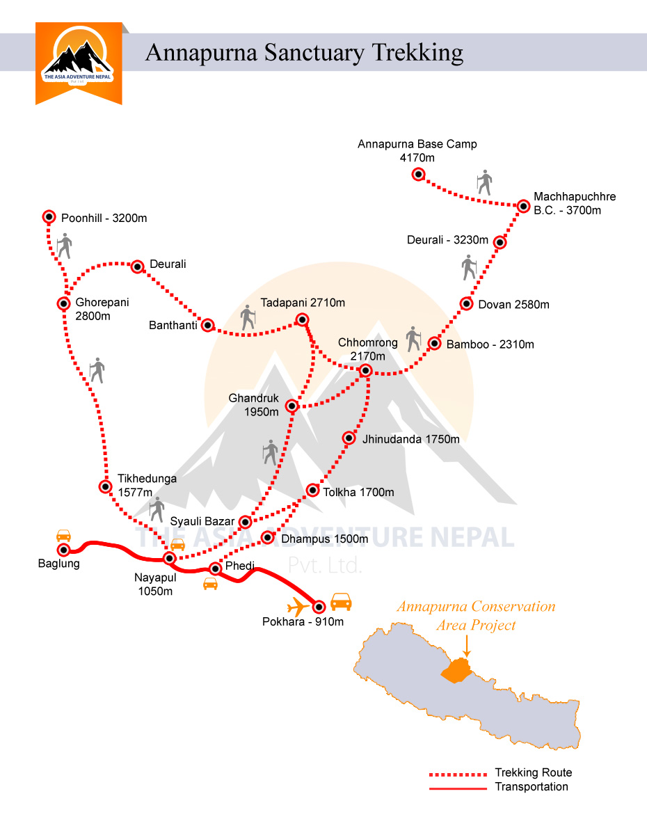 Annapurna Sanctuary Trekking  Trip Map