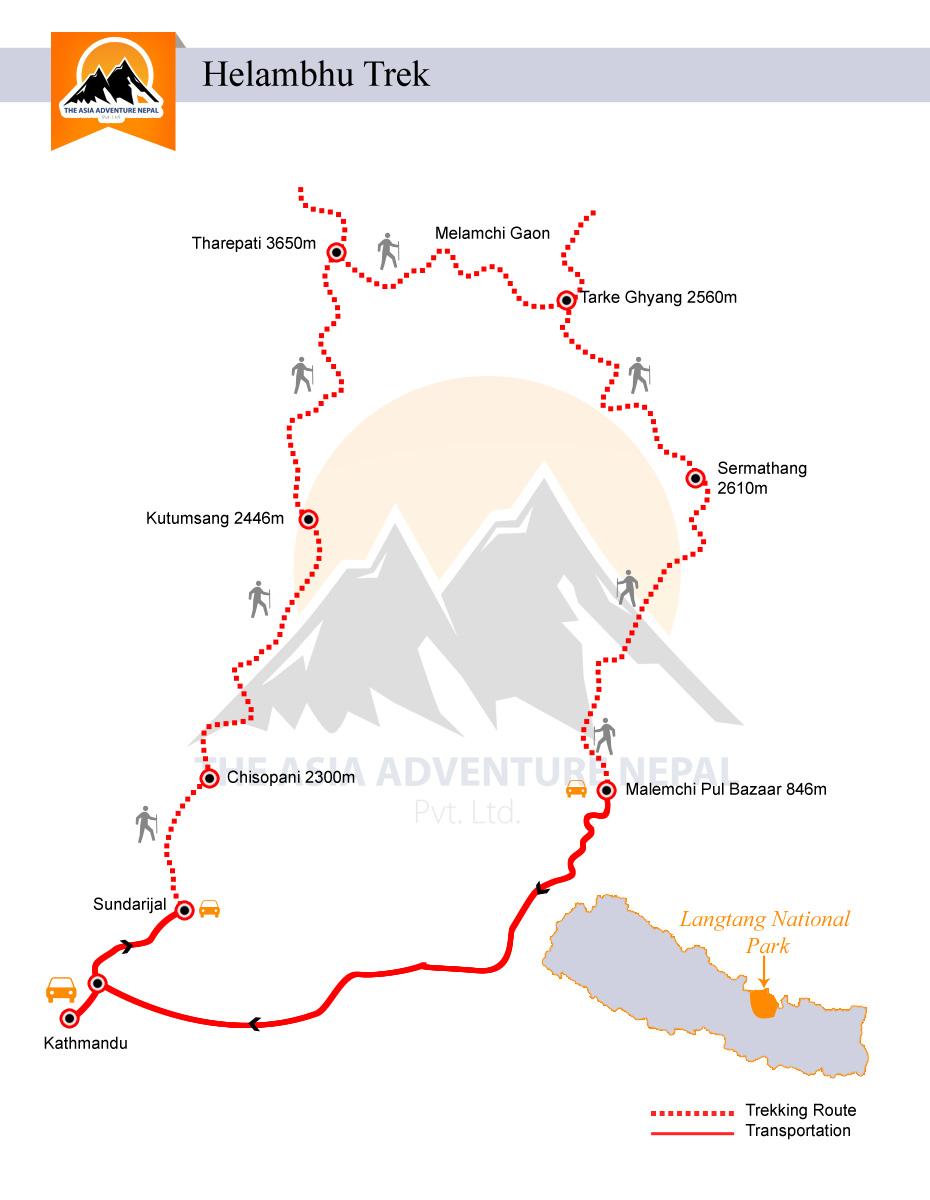 Chisapani Helambu TrekkingTrip Map