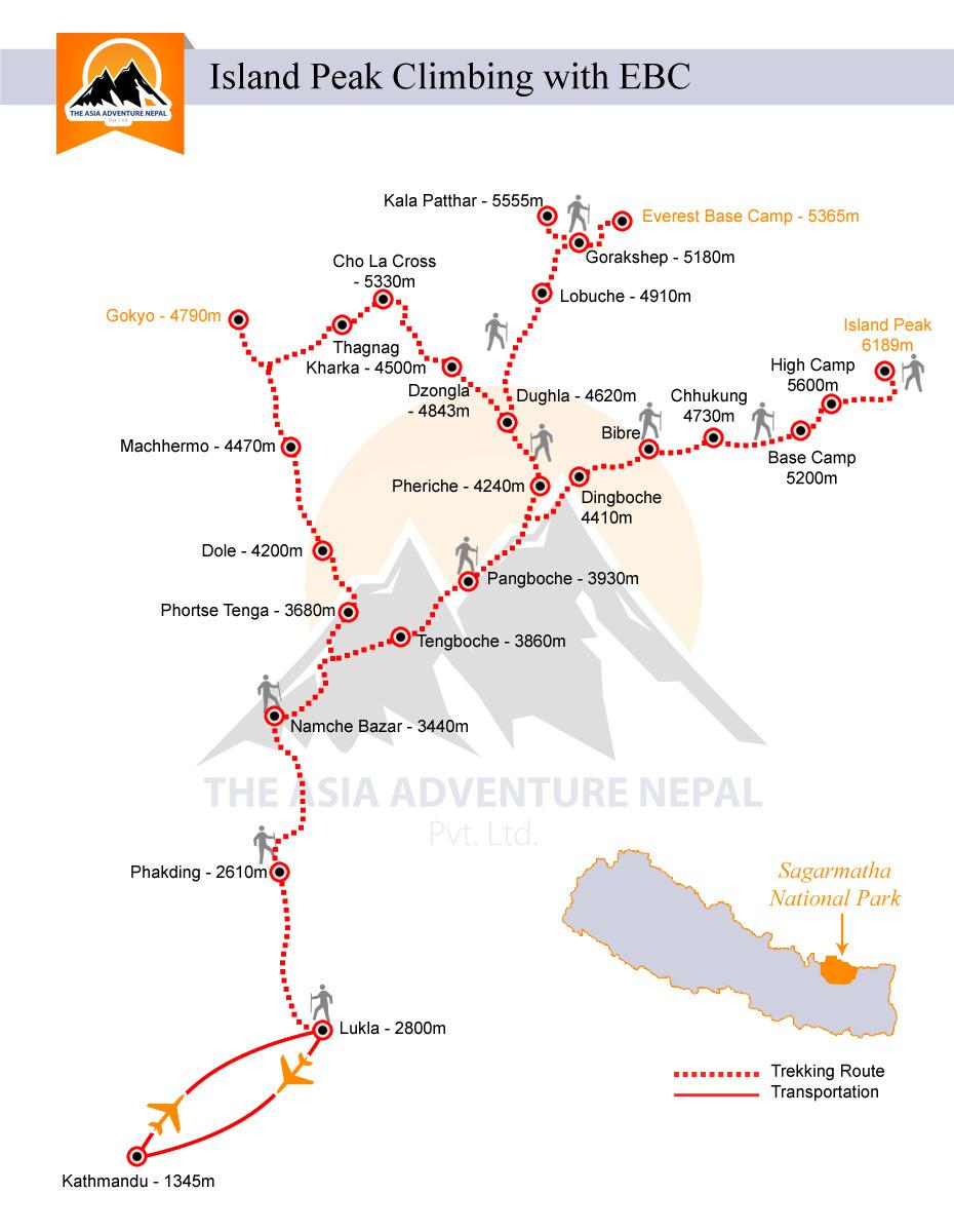 Island Peak Climbing with  EBCTrip Map