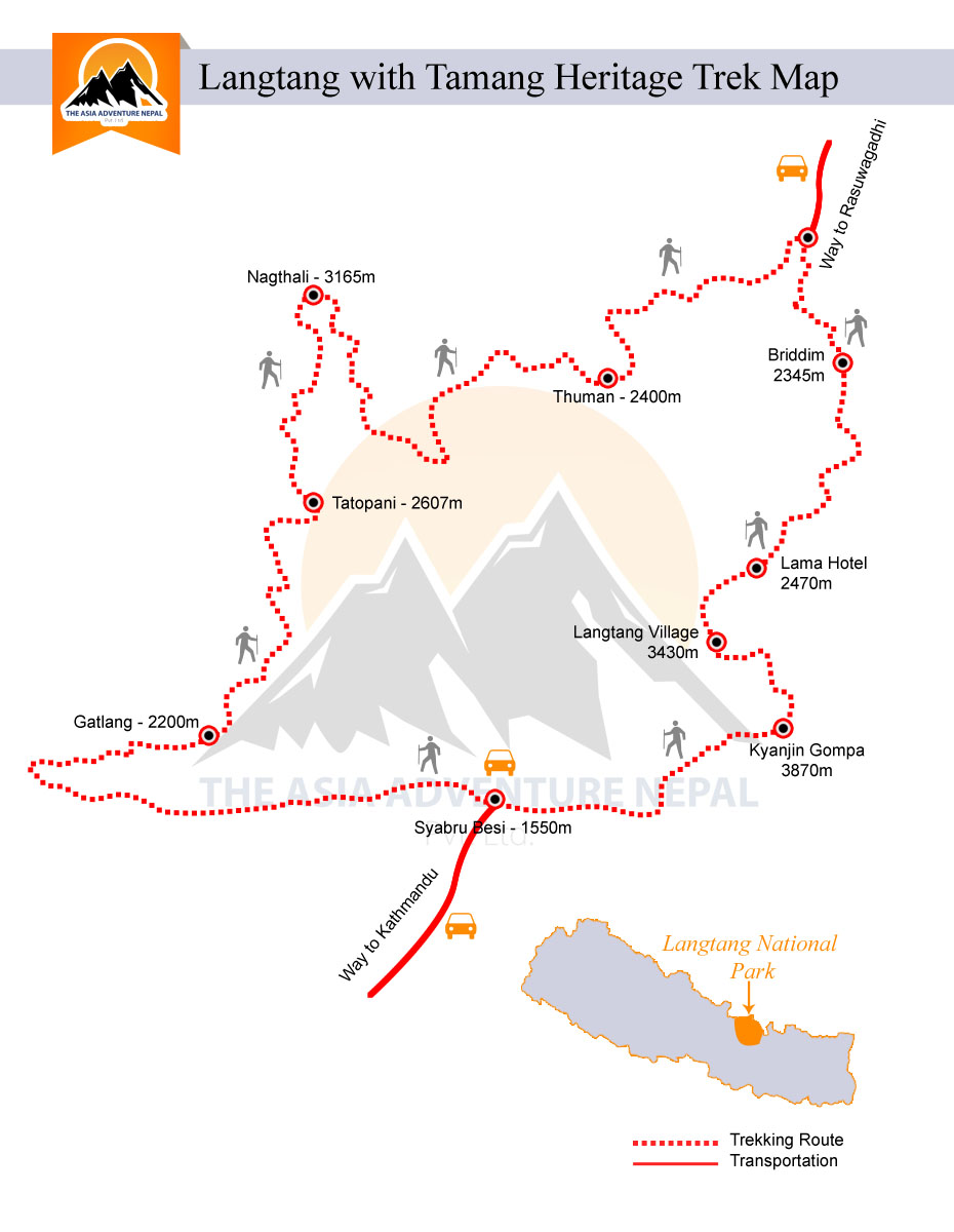 Tamang Heritage & Langtang TrekTrip Map