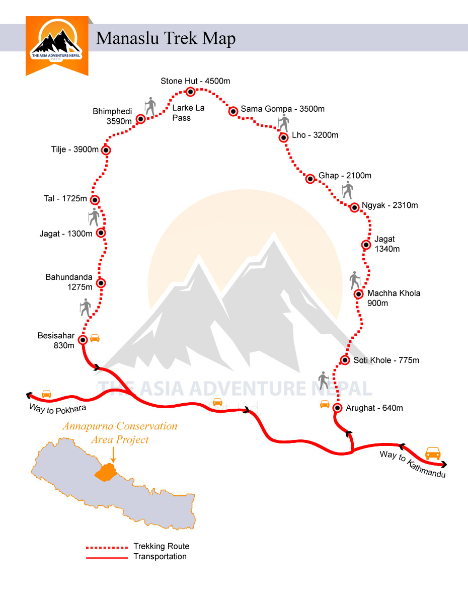 Manaslu Circuit with Tsum Valley Trek  Trip Map