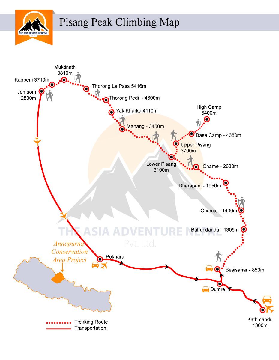Pisang Peak Climbing Trip Map